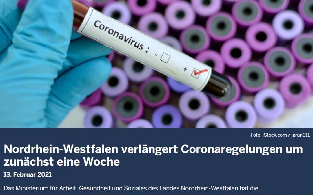 NRW-Coronaregelungen um eine Woche verlängert